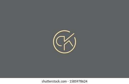Circle monogram letters icon CK,KC,C and K