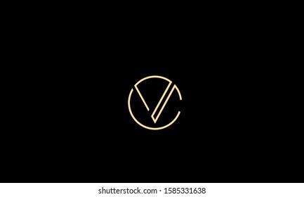 circle monogram letters icon logo CV,VC,C and V