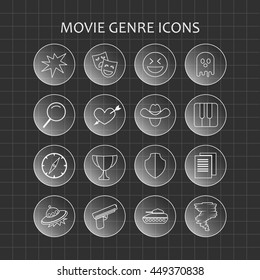 Circle Movie Genre Icons. Transparent grey icons.