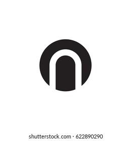 circle n logo, initial logo on, no, n inside o rounded letter negative space logo black
