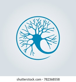Circle Neuron Vector Art. Neuron logo template, Creative Vector element