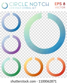 Circle notch geometric polygonal icons. Amazing mosaic style symbol collection. Mind-blowing low poly style. Modern design. Circle notch icons set for infographics or presentation.