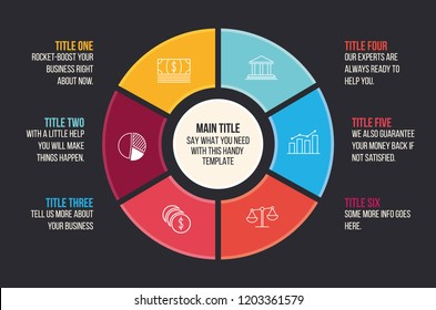 Circle optiom template for your presenatation. Countinous circle of steps in bright corporate colors. Perfect for business presentation or shot.