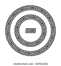 Circle ornament meander. Round frame, rosette of swastika elements. Antique round pattern, vector.