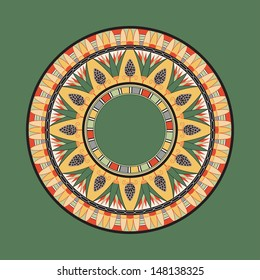 Circle ornament. Round frame, rosette of ancient elements. Egyptian national antique round pattern, vector.