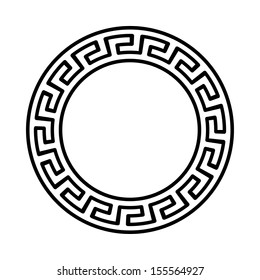 Circle ornament. Round frame, rosette of ancient elements. Greek national antique round pattern, vector.