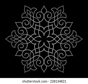 Circle ornamental geometric pattern on black background. Abstract illustration.  Mandala.