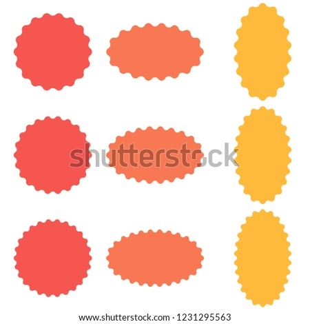 Circle And Oval Badge Sticker Starburst Speech Bubbles Vector With Wavy Edges