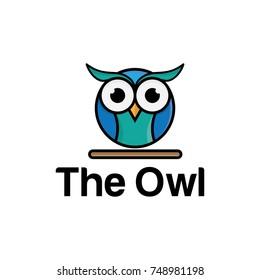 circle owl logo illustration. owl logo. colorful logo design