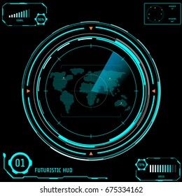 Circle Panel Radar Screen Futuristic Visualization User Interface Vector Background. Dots Map Location With Beam Satellite Navigation Scan.