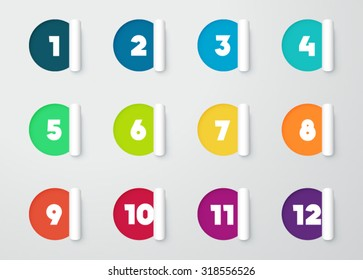 Circle Paper Cut Out Notes With Numbers For Calendar 1 to 12