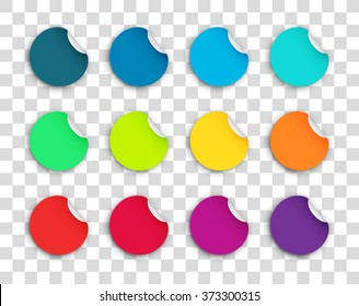 Circle Paper Sticker Note Set With Drop Shadows Transparent