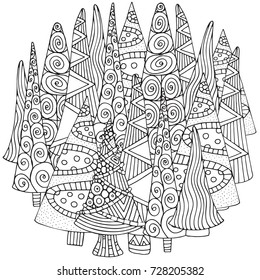 Circle Pattern for coloring book of Christmas trees, hand-drawn decorative elements in vector. Fancy Christmas trees.  Black and white pattern.  Zentangle