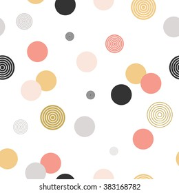 Circle pattern. Modern stylish texture. Repeating dot, spiral, round abstract background for wall paper. Flat minimalistic design.