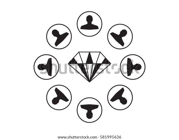 a circle of people, diamond, icon, vector illustration eps10