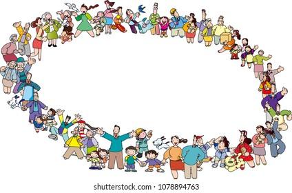 Circle of people gathering
