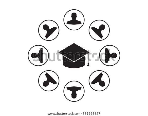 circle of people graduate cap, icon, vector illustration eps10