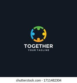 Circle people together unity logo design template illustration Premium Vector