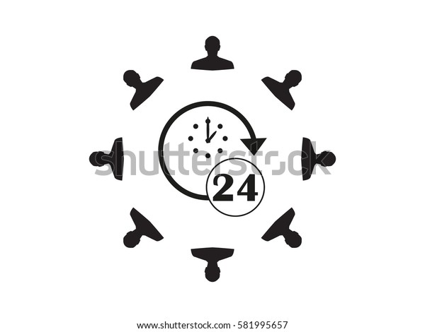 a circle of people, watches 24 hours, icon, vector illustration eps10