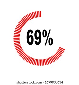 circle percentage diagrams meter ready-to-use for web design, user interface UI or infographic - indicator with red & black showing 69%