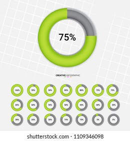 circle percentage,Performance analysis in percent ,0,5,10,15,20,25,30,35,40,45,50,55,60,65,70,75,80,85,90,95,100 vector infographic. Set of circle percentage diagrams from 0 to 100 for web design.
