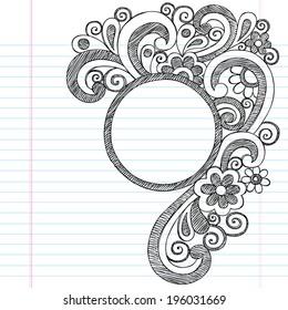 Circle Picture Frame Border Back to School Sketchy Notebook Doodles- Illustration Design Element on Lined Sketchbook Paper Background