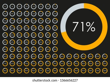Circle Pie Chart from 1 to 100 percent. Percentage diagram set for infographic, UI, web design. Progress bar template. Vector illustration.
