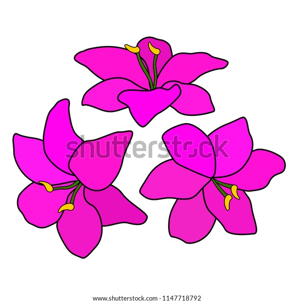 A circle of pink flowers, a floral ornament, six petals and grass, a green leaf and stem, a white background, an isolated object, a simple stylized drawing, A bouquet or a flower bed