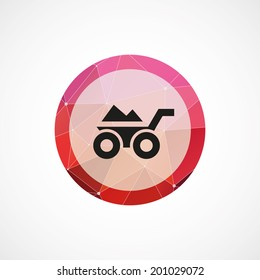 circle pink triangle background construction wheelbarrow icon