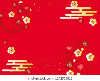 circle with plum blossom illustration background
