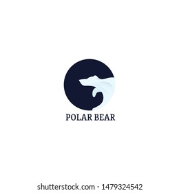 circle Polar Bear negative space logo symbol in isolated white background - vector