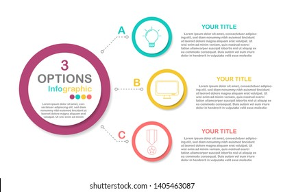 Circle process infographic in eps10 vector (divided into layers in file), 4 colors  chart for 3 options with business icon.