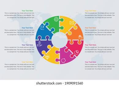 Circle puzzle infographic diagram presentation vector image