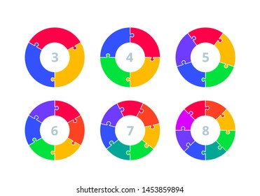 Circle Puzzle Infographics Design Vector and Marketing Icons. Illustration for Workflow Layout, Diagram, Annual Report and Web Design. Business Concept with Options, Steps or Processes