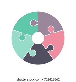 A circle puzzle made out of five jigsaw pieces in vector format. Suitable for use in a logo or an infographic design.