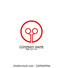 circle qq logo type design concept in red color