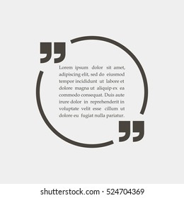 Circle quotation text bubble. Quote sign icon, Vector illustration.