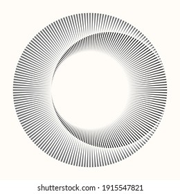 Circle from radial lines as icon or logo. Halftone black design element on white background.