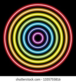 circle rainbow neon tube lights on black for background and design.