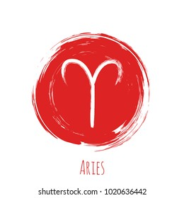 Circle red Aries zodiac symbol vector, hand painted horoscope sign. Round astrological icon isolated. Aries astrology zodiac sign clip art on white background.