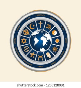 A circle of religious symbols. International religions of the world in the signs. Isolated symbol of world cultures on a white background.
