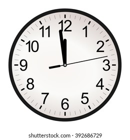 Circle retro analog wall clock with black hands and numbers with one minute left to 12 hour. 11:59 / 23:59 time vector art image illustration, isolated on white background, realistic design eps10