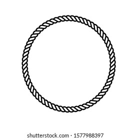 Circle rope frame -Endless rope loop isolated on white, including clipping path