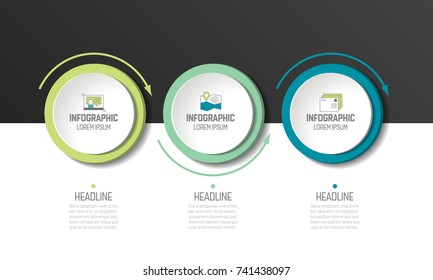 Circle, round chart, scheme, timeline, infographic, numbered template, option template. 3 steps.