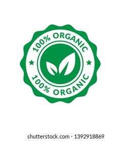 circle rubber stamp with the text 100% organic. 100% organic rubber stamp, label, badge, logo,seal. Designed for your web site design, logo, app, UI