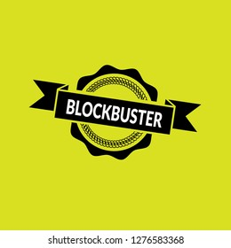 circle rubber stamp with the text Blockbuster. Blockbuster rubber stamp, label, badge, logo,seal
