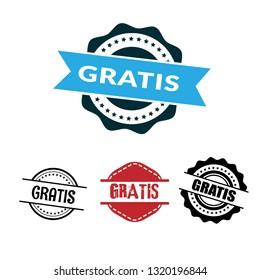 circle rubber stamp with the text gratis. gratis rubber stamp, label, badge, logo,seal. Designed for your web site design, logo, app, UI