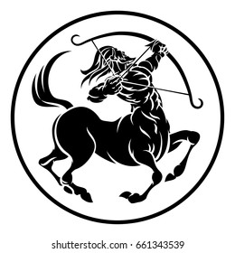 Circle Sagittarius archer centaur, horoscope astrology zodiac sign icon