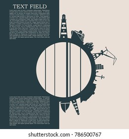 Circle with sea shipping and travel relative silhouettes. Objects located around the circle. Field for text. Modern brochure, report or leaflet design template.