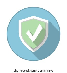 Circle security badge with check mark on it. Vector illustration.
